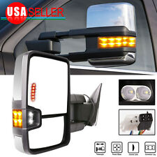 For 88-98 Chevy GMC Pickup LH&RH Power Led Signal Lamp Chrome Set Towing Mirrors