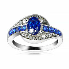 Women  Size 7 Blue Sapphire Gemstone White Gold plated Engagement party Ring
