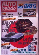 AUTO HEBDO n°599 du 12/11/1987; 405 Turbo 16/ Salon de Tokyo/ 405 Turbo 16/ Lanc