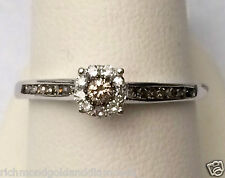 Fancy Champagne Diamond White Gold Halo Engagement Ring Bridal Vintage Cathedral