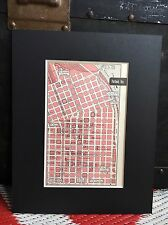 City Map of Portland Oregon 1958 Mid Century Black Matted 8x10 Art Print travel