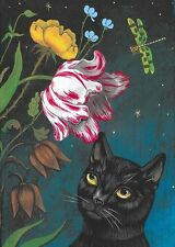ACEO PRINT OF PAINTING RYTA BLACK CAT SPRING FLOWERS NIGHT SKY TULIP ROSE ART