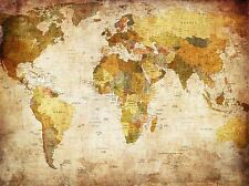 MAP GLOBE WORLD ATLAS ANTIQUE STYLE MODERN LAYOUT ART PRINT POSTER MP3674A