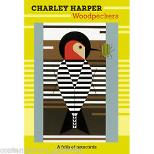 New Charlie Charley Harper Woodpeckers Images 10 Blank Notecards & Envelopes
