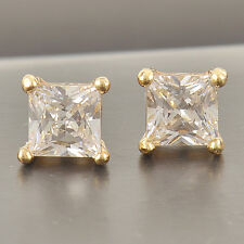 Cool Solid Gold Filled Square Cubic Zirconia Men's Stud Earrings,5mm,Z2547