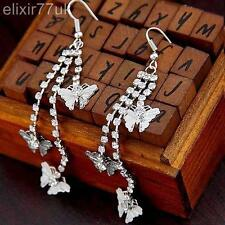 UK LONG SILVER BUTTERFLY DIAMANTE CRYSTAL TASSEL DROP DANGLE CHANDELIER EARRINGS