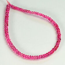 2.5mm-3.2mm Hot Pink Mahenge Spinel Smooth Rondelle Beads 6 inch Strand