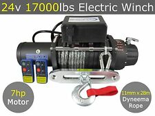 24V 17000LBS ELECTRIC WINCH 11MMX28M DYNEEMA SYNTHETIC ROPE 4WD TRUCK 17000LB