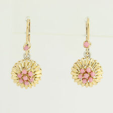 Coral Flower Drop Earrings - 18k Yellow & White Gold Leverback Closures Pierced