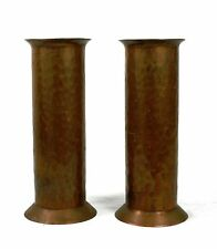 Antique Arts & Crafts Copper Vases Cylindrical Pair Hand Hammered 17.8 cm.