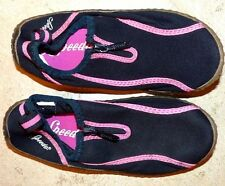 EUC Youth Junior Girl's Small 13 / 1 Speedo Black Pink Zip Up Water Sport Shoes