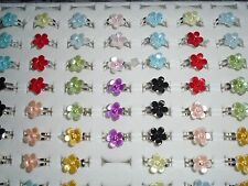 30 x kids Flower adjustable costume rings