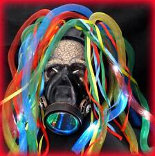 Steampunk gas mask LED light dread cyberlock RAVE cyber club face LED respirator