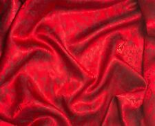 "Silk JACQUARD Fabric RED LEAVES BAROQUE 9""x22"" remnant"