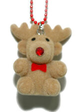 CUTE FUZZY CHRISTMAS REINDEER NECKLACE (N030)