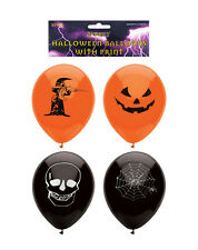 Orange & Black Halloween Design Printed Party Balloons 15 Pack P7771