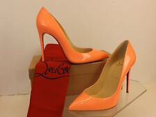NIB LOUBOUTIN PIGALLE FOLLIES 100 FLAMINGO PATENT LEATHER CLASSIC PUMPS 38.5