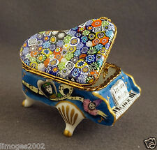 MASQUERADE IN VENICE NEW FRENCH LIMOGES BOX GRAND PIANO W/ MURANO MILLEFIORI TOP