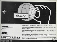 LUFTHANSA GERMAN AIRLINES 1960 BOEING 707 TRANSATLANTIC NEW YORK/FRANKFURT AD