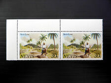 """NEVIS Corner Pair U/M with """"N"""" in Nevis Partially Omitted SALE PRICE FP1346"""