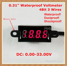Waterproof DC 0-33.00V 4 Digital LED Voltage Meter Voltmeter 12V 24V car Battery