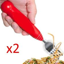 SPAGHETTI FORK WITH SPINNING ROTATING HEAD TWIRLING PASTA POT NOODLE ELECTRIC x2