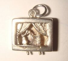 RARE VINTAGE SILVER MOVING PUNCH & JUDY PUPPET SHOW CHARM