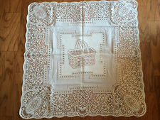 Heritage Lace Ivory Basket Square Polyester Table Topper 30 x 30 (95)
