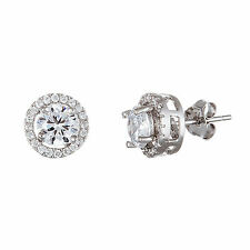 18K White Gold Sterling Silver CZ  Round Stud Post Earring
