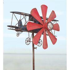 Vintage Solar Airplane Wind Spinner Lawn Garden Yard Art Porch Outdoor Decor
