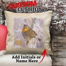 Personalised Robin Bird Winter Vintage Cushion Custom Canvas Cover Gift NC147
