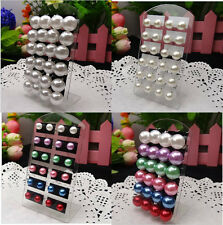 New Fashion Lots 12Pairs 8mm Mixed Colors Imitated Pearl Beads Stud Pin Earrings