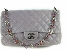 CHANEL Materasse Heart chain Shoulder Bag Light purple 100% Auth From JAPAN