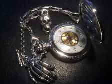Memento mori physician pocket watch and chain skeleton hand skull fob Edwardian