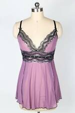 LOVELY MAUVE BABYDOLL NIGHTIE WITH BLACK &SILVER TRIM - SIZE 20