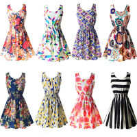 Women Ladies Summer Beach Sundress Sexy Floral Tank Mini Dress Sleeveless Skater