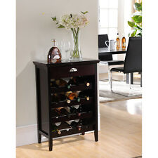 Kings Brand Dark Cherry Finish Wood Buffet Wine Rack Cabinet with Drawer ~New~