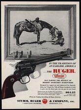 1960 RUGER Single-Six 22 Caliber Revolver Gun Charles Schreyvogel Art VINTAGE AD