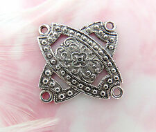 ANTIQUE SILVER Embossed Filigree CONNECTOR Stamping 4 Holes (FA-6056)