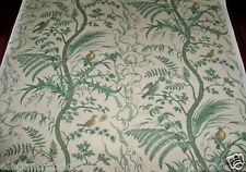 BRUNSCHWIG & FILS BIRD AND THISTLE TOILE FABRIC 10 YARDS GREEN CREAM YELLOW