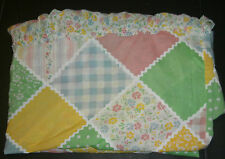 Vintage Sears Bloomin' Patch Full Bed Skirt Flowers Gingham Check