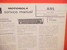 1970 MOTOROLA CAR AUTO FM CONVERTER RADIO SERVICE SHOP REPAIR MANUAL FM70M