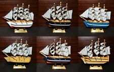 "3x Ship 4.4"" Tall Detailed Wooden Boat Model Nautical Home Decor Collectible Mix"