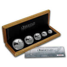 2015 Mexico 5-Coin Silver Libertad Proof Set (1.9 oz, Wood Box) - SKU #91810