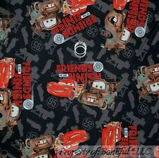 BonEful Fabric FQ Cotton Quilt Disney Car Friends Tow Mater Lightening Mc Queen