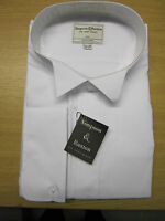 Simpson & Ruxton Plain White Wing Collar Dress Shirt - Poly  Cotton