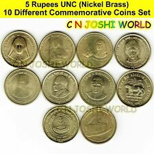 Very Rare 47 Different Copper Nickel 1 + 2 + 5 Rupees Commemorative Coins Set