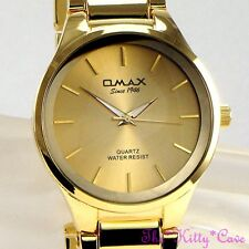 Omax Waterproof Classic Steel Gold Plate Swiss Brand Seiko Movement Watch HBK835