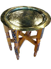 """Moroccan Traditional Tea Folding Table Hammered & Polished Brass Tray Top 13"""""""