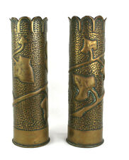 World War One WWI Trench Art Vases Pair 75mm Fench Shells 1917 Ivy Hammered